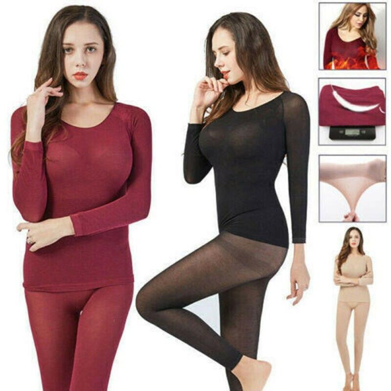 2PC Ultra-thin Long Thermal Underwear Set Women Seamless Body Elasticity Thermo Winter Tops+Long Pants Suit термобелье