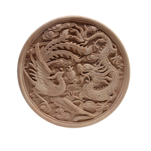 European Decal Dragon Plate Carved Solid Wood Round Flower Carving Home Decoration Accessories Wholesale and Retail Onlay