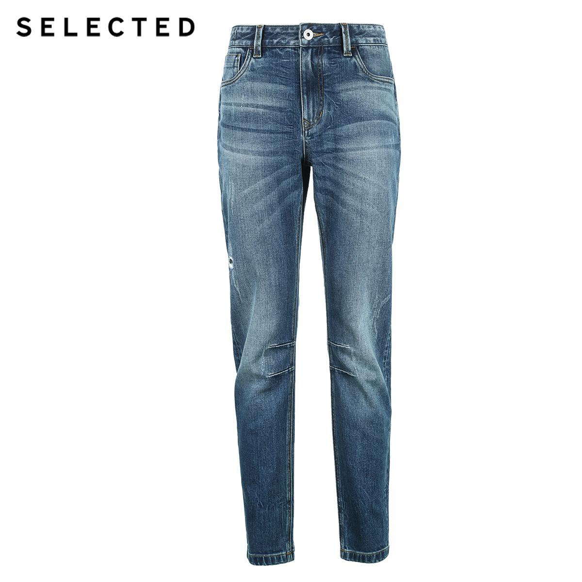 Image 5 - SELECTED Mens Summer Lycra blend Denim Pants Fading Tight leg Jeans C419132535Jeans