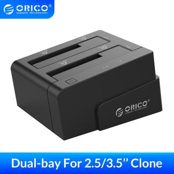 ORICO HDD Docking Station Clone Dual-bay 2.5 Inch 3.5 Inch SATA To USB 3.0 External HDD Dock Case UASP Up To 20TB Plug And Play