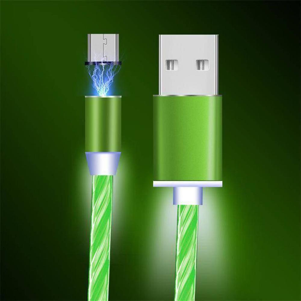 Circular Magnetic Streamer Data Line Magical Glow Nighttime Mobile Phone Charging Cable For Android