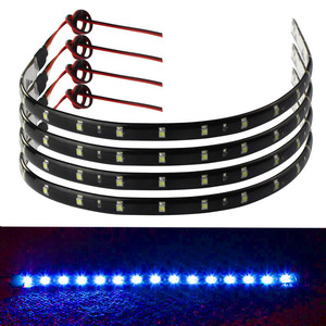 4 x 30cm led strip 12v Waterproof 15 LED waterproof Car Trucks Grill Flexible LED Light Strip for car interior motorcycle Blue