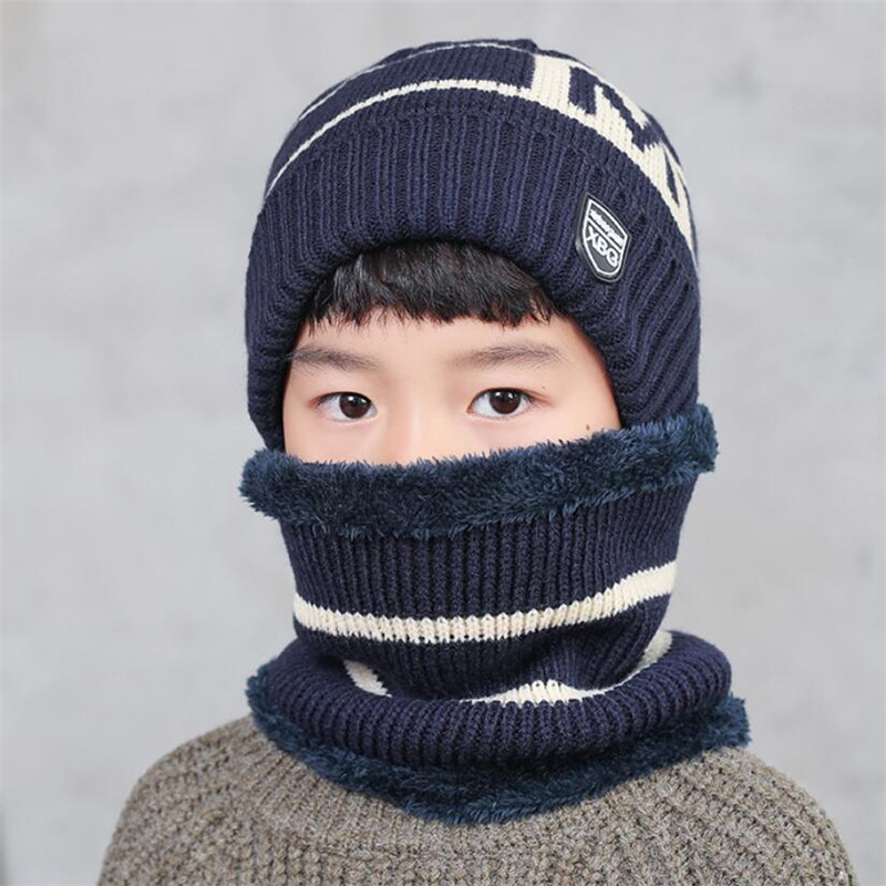 Child Winter Knitted Hat Scarf Boy Girls Outdoor Warm Plush Beanies Hat 2 Piece Sets Kids New Letter Cap And Stripe Scarves