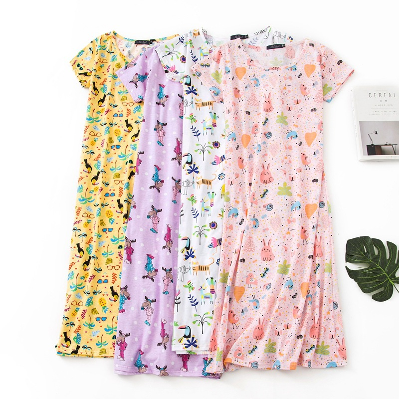 Lengthen Plus-sized Nightgown Summer Short-sleeved Pure Cotton Women's Large Size Plus-sized Cute Pajamas Tracksuit