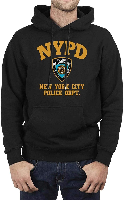 LQIAO Men's Hoodie New York City Police Department Popular Plain Pullover Hooded Sweatshirt Hoodies