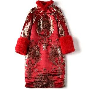 Image 4 - חורף ארוך שרוול מעודן vestido סיני שנה החדשה שמלת Cheongsam בציר אדום מסיבת שמלות Qipao מזרחי שמלת כלה