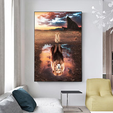Modern Animal Art Reflection of Lion Canvas Paintings Posters and Prints Wall Art Pictures for Living Room Decor (No Frame)