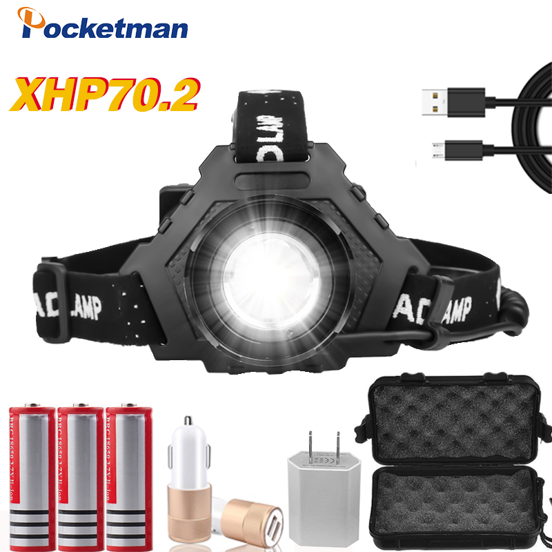 80000LM Most Powerful XHP70.2 USB Rechargeable Led Headlamp XHP70 Super Bright Headlight XHP50 Hunting Camping Fishing Lanterna