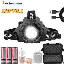 8000lm 가장 강력한 xhp70.2 usb 충전식 led 전조등 xhp70 슈퍼 밝은 헤드 라이트 xhp50 사냥 캠핑 낚시 lanterna