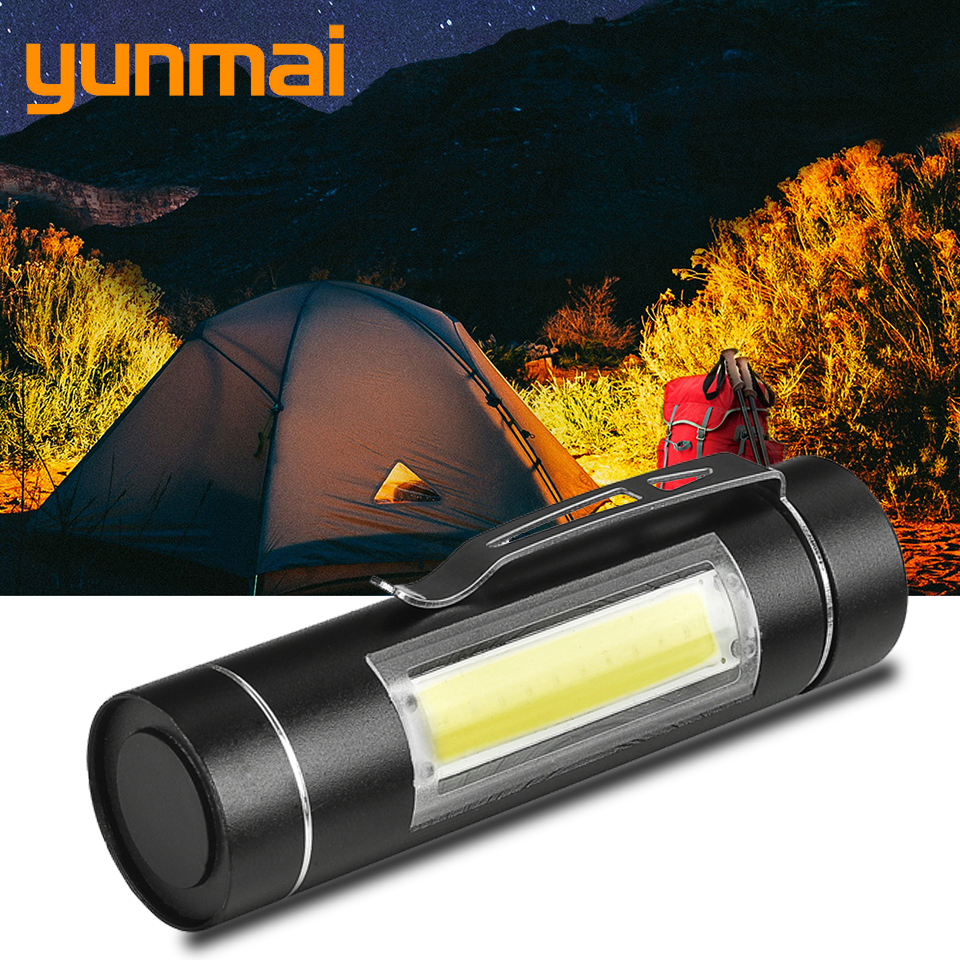 Yunmai Aluminum Waterproof LED Flashlight Torch Camping Light For 14500 Rechargeable Or AA Battery COB LED Bulbs Shock Resistant