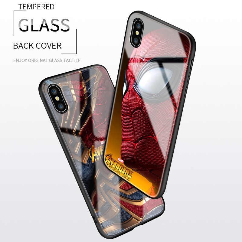 Marvel Avenger Superhero Spiderman Lembut Bumper Glossy Tempered Glass Pelindung Cover untuk Xiaomi Mix 2 2S 3 Max 2 3 Telepon Kasus