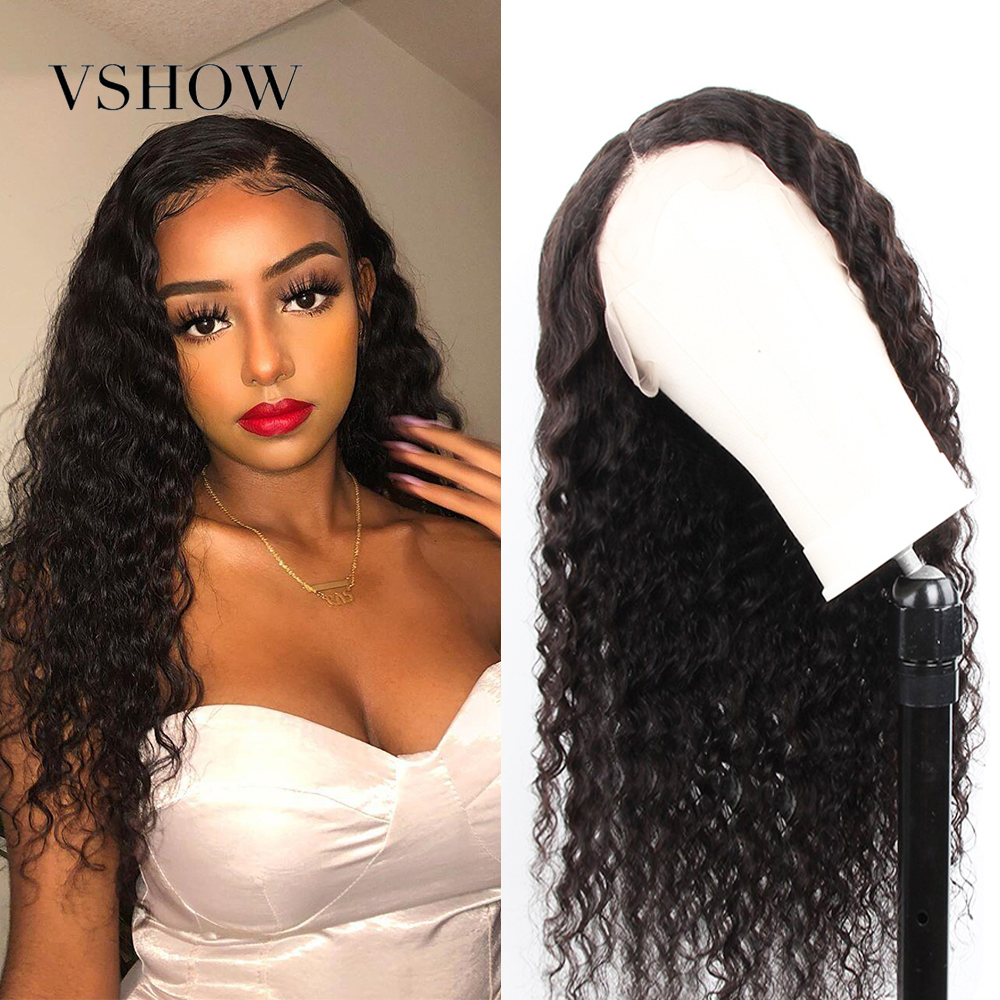 VSHOW 13x4 Brazilian Deep Wave Lace Front Wig For Women 250% Density 13x4 Remy Human Hair Wigs Pre Plucked 360 Lace Frontal Wig