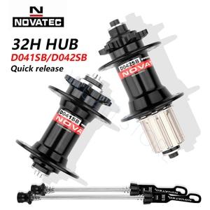 Novatec D041SB D042SB Hub Road MTB Bicycle Disc Card Brake Hub 32 Holes Red Black 8/9/10/11 speed Mountain Bike bearing Hubs