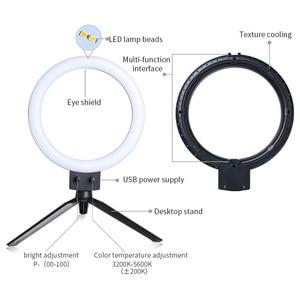"""Image 4 - 9 """"LED 80 LEDs 3200 5600K Selfieแหวนโคมไฟที่มีขาตั้งผู้ถือโทรศัพท์ปลั๊กUSB Photo Studio"""