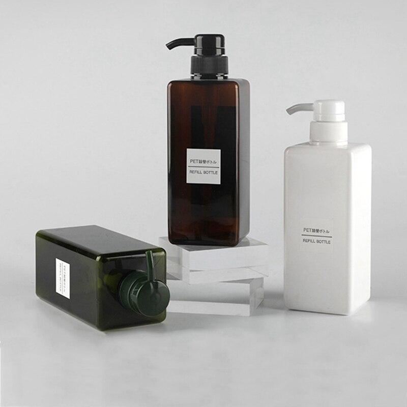 250/450/650ML Storage Bottles Shampoo Shower Gel Dispenser Rectangular Refillable Soap Empty Bottle Press Type For Bathroom