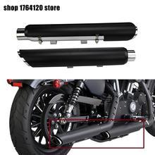 Motosiklet 2X Slip On susturucu egzoz boruları için uyar Harley Sportster 883 1200 48 2004 2019 2020 siyah shortshots egzoz boruları