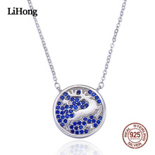 цена Fashion Silver Necklace Women Korean Style Creative Micro Inlay Blue Decoration Small Elk Round Pendant Jewelry Necklace Female онлайн в 2017 году