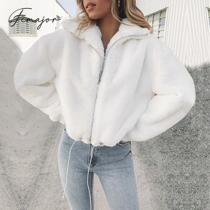 Femajor Winter Women Warm Faux Fur Zip Jackets Ladies High Street White High Collar Jacktes And Coats Fashion Drawstring Outwear