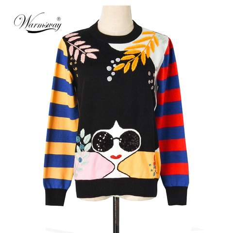 Winter New Contrast Striped Sleeve Embroidery Leaves Beaded Sequins Sunglasses Girls Knit Sweater C-331 Pakistan