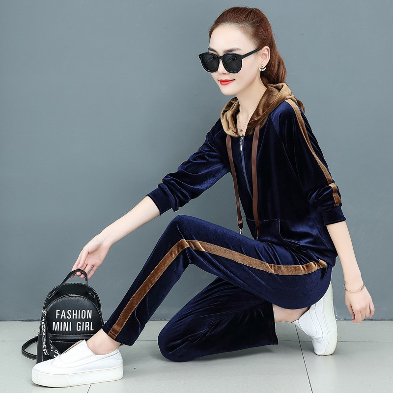 Tracksuit For Women Pant Suits Autumn Plus Size Velvet Sportswear  Casual Hoodies And Pants 2Pcs Women Velour Sports Set W1582