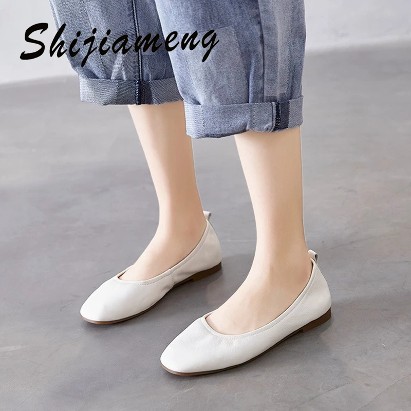 Korean square soft sole single shoes women's pleated Elastic Shallow mouth soft leather flat shoes in summer 2021