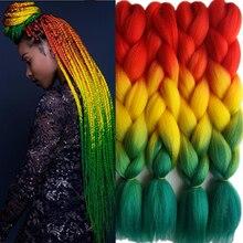 Pervado волосы, 1 шт., 24 дюйма, 100 г/шт., Омбре, огромные косички, вязанные крючком волосы, синтетические косички, наращивание волос, яки, оптом, красный, зеленый цвет, раста