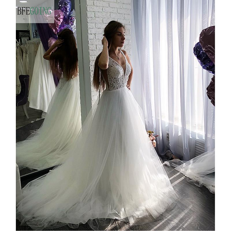 White Lace Tulle Beading  V-Neck Sleeveless  Floor-Length A-line Wedding Dress Chapel Train  Custom Made
