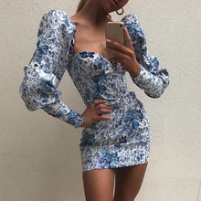 long sleeve Floral print short dress