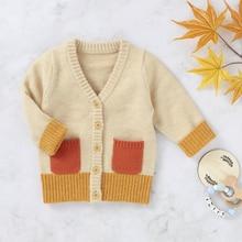 2020 Baby Fashion Long sleeve Cardigan Sweater Infant Boy Girls V-neck Knitted Jacket Patchwork Fashion Winter Warm Coat 0-24M