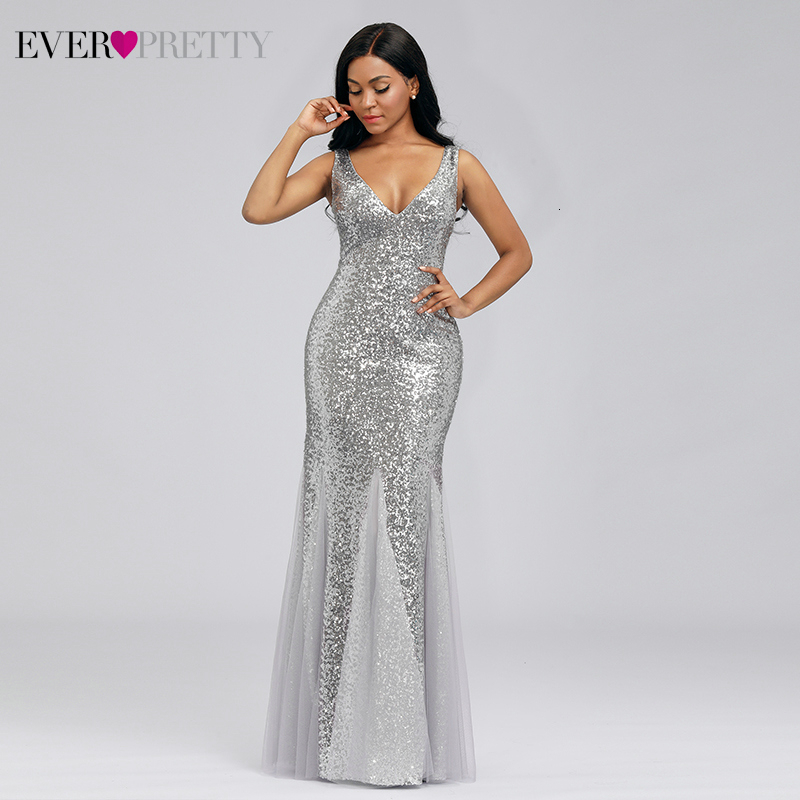 Sexy Silver Evening Dresses Long Ever Pretty EP00946SV Sequined Double V-Neck Sparkle Little Mermaid Party Gowns Abendkleider