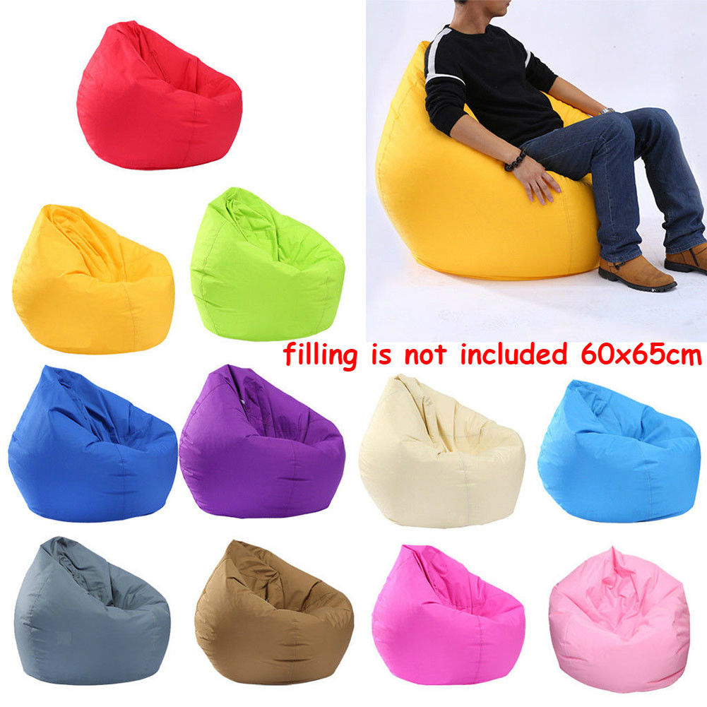 Unfilled Lounge Bean Bag Home Soft Lazy Sofa Single Adult Kids Seat Chair Furniture Cover 60 X 65cm