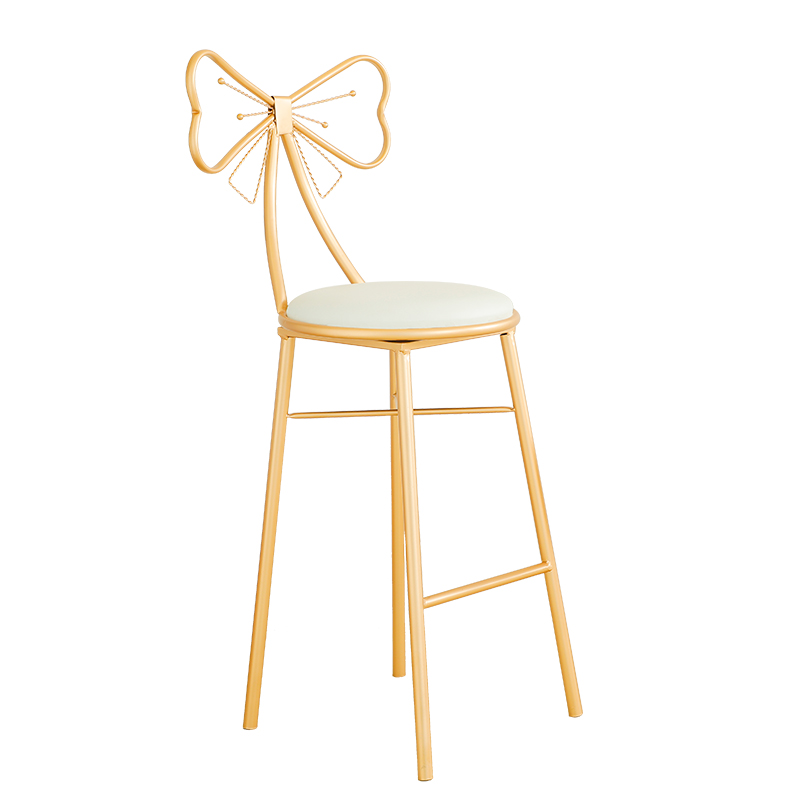 Modern Minimalist Bar High Stool Nordic Household Backrest  Chair   Creative Fashion Bow