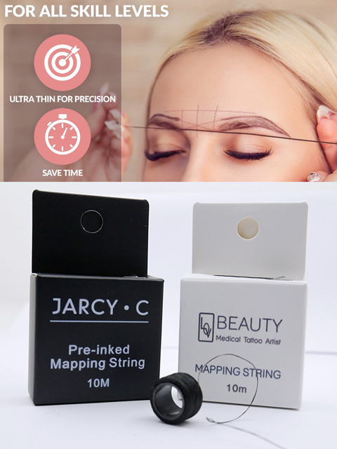 10m 2 Pcs Microblading Mapping String Pre-Inked Eyebrow Marker thread Tattoo Brows Point PMU string Eyebrow Pencil Marking Line