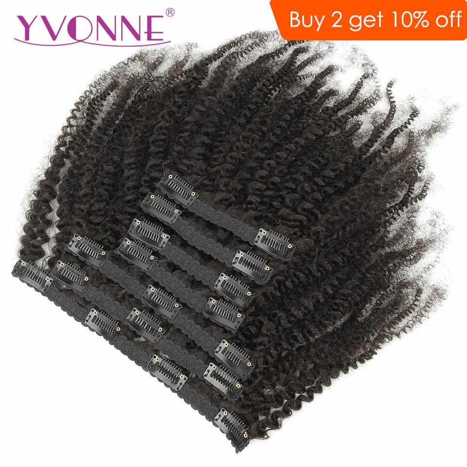 Yvonne 4B 4C Kinky Coily Kẹp Trong Con Người Làm Tóc Brasil Trinh Nữ Tóc 7 Cái/bộ 120G Màu Tự Nhiên