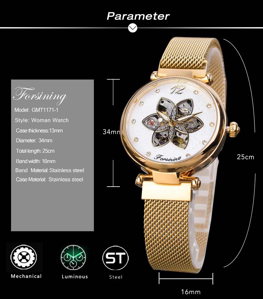 Forsining Female Clock Mechanical Automatic Diamond Top Brand Luxury Womens Watch Gold Mesh Waterproof Fashion Ladies Watches