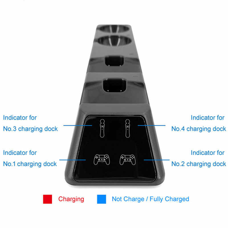 For PS4/Slim/Pro Dual Gamepad Charger Stand PS Move Controller Charging Dock Station For PS4 PS Move VR Game Accessories