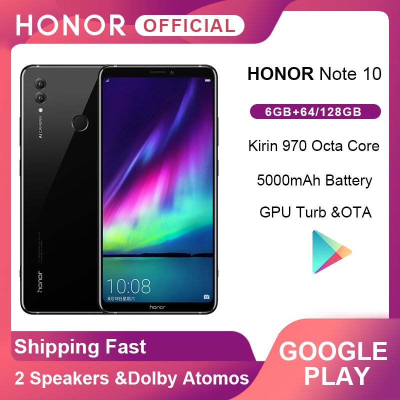 Google Play Honor Note 10 Smartphone  6.95'' Kirin 970 Octa Core 24MP+16MP Cameras 5000mAh Mobile Phone Android Fingerprint ID