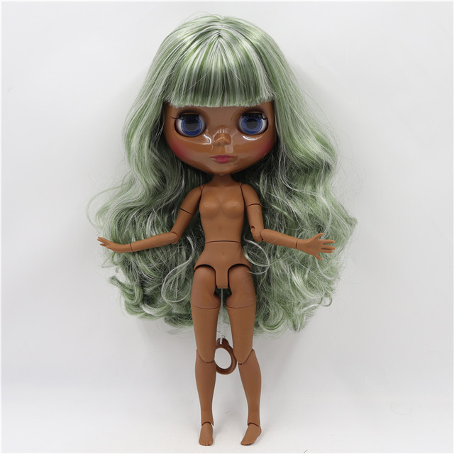 Neo Blythe Doll with Multi-Color Hair, Black skin, Shiny Face & Jointed Body 1