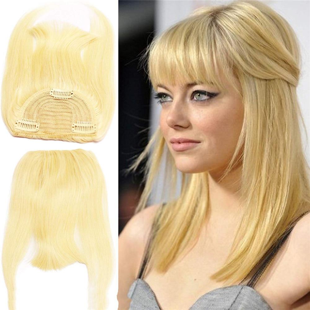 #613 Blonde Color Brazilian Human Hair Clip-in Hair Bang Full Fringe Short Straight Hair Extension for women 6-8inch