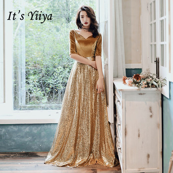 It's Yiiya Evening Dress Long Gold Sequins Velour Dresses For Women Elegant Formal Gowns Plus Size robe de soiree LF144 - discount item  37% OFF Special Occasion Dresses