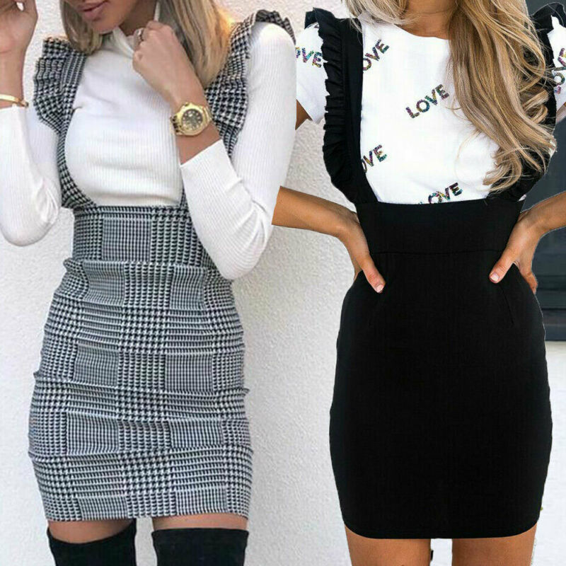 Women Summer Houndstooth Suspender Skirt Braces Skirt Bodycon Shoulder Straps Overall Skirts Femme OL Office Lady Slim Skirts