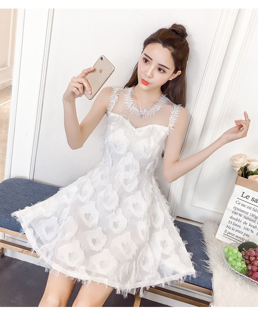 New Fashion Ladies Feather Tassel Embroidered Lace Vest Dress Fashion Sexy Temperament Girl Party Casual Beach Dress 6