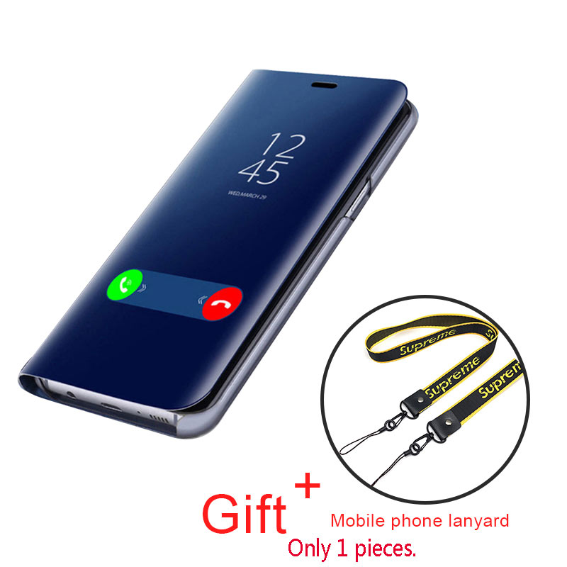 Q UNCLE Mirror Flip Mobile Phone Case for Samsung S8 9 10 Plus A6 A8 J4 J6 Plus S7 Edge A30 A50 Note 9 8 J7 prime J5 A9 A7