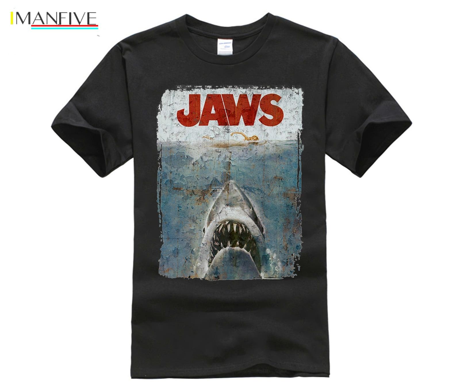 funny men cotton t shirt Men sporter t shirts JAWS DISTRESSED SPIELBERG RETRO MOVIE POSTER sporter t shirts in T Shirts from Men 39 s Clothing