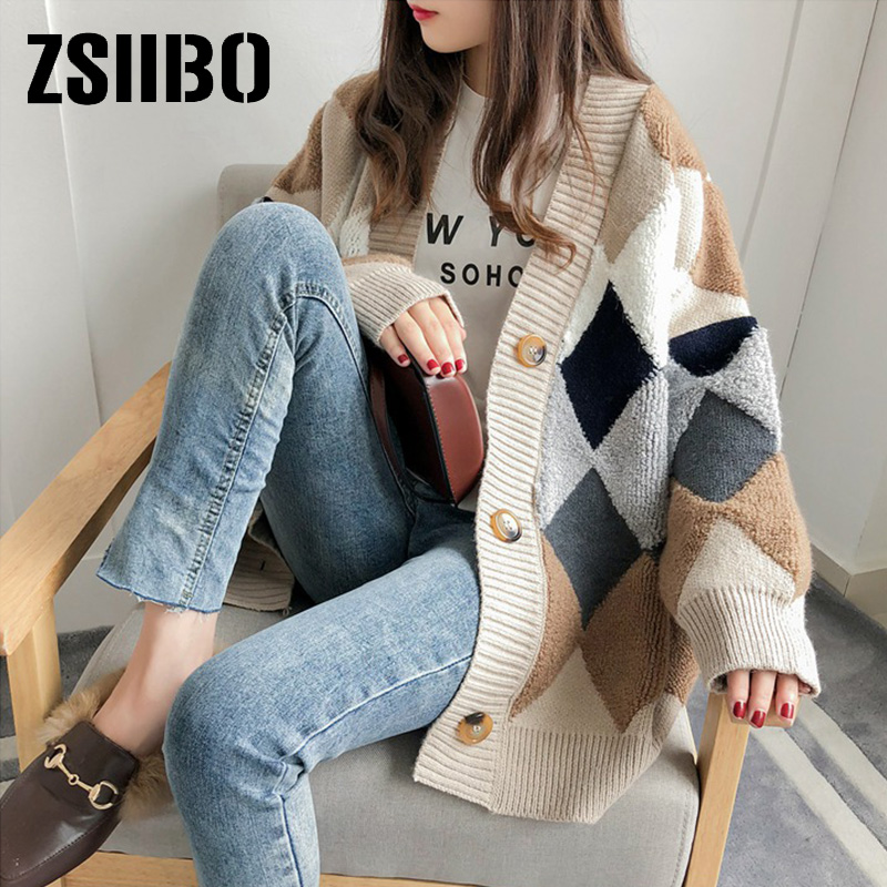 Cardigan Dropshipping Women's Sweaters Autumn Winter Fashionable Casual Plaid V-Neck Cardigans Single Breasted Puff Sleeve Loose