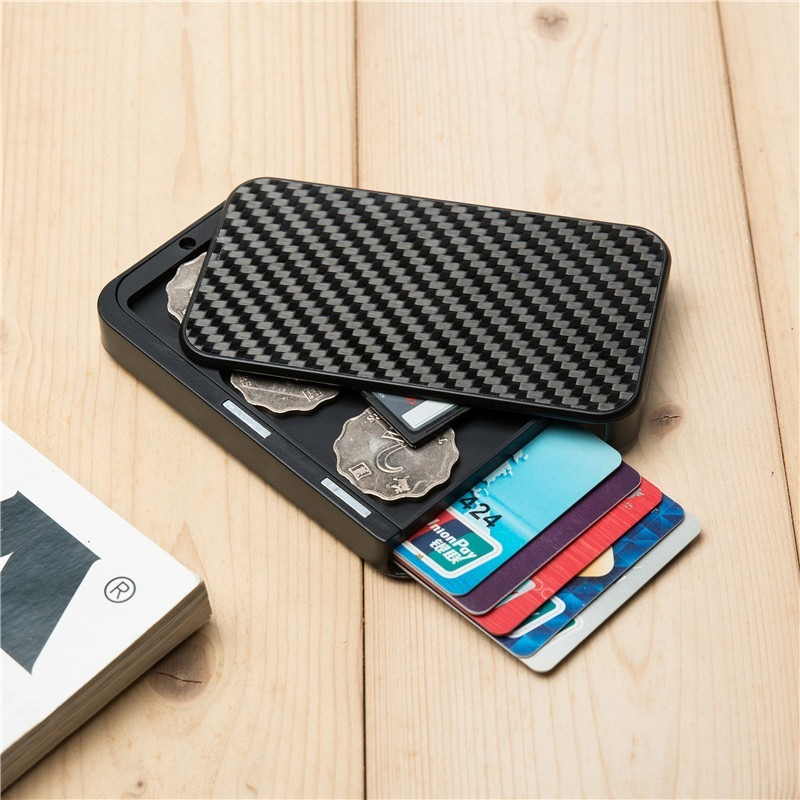YAMBUTO 2020 Carbon Fiber Smart Wallet RFID Blocking Money Bag Security Aluminum Card Holder Cartera Coin Purse Dropshipping