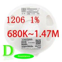 Série 100 1206 original 1% série RC1206FR-07 k-680 m todos os resistores 1.47 k 680k 750k 820k 910k 1m 1.1m 1.2m 1.3m m m