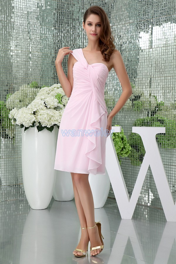 Free Shipping Modest 2013 New Design Hot Custom Size/color One Shoulder Chiffon Gown Short Pink Davids Bridal Bridesmaid Dresses