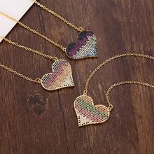 Ouro feminino colares pingentes coração cobre zircônia cúbica 18k banhado a ouro arco-íris rosa coração cobra corrente colar jóias