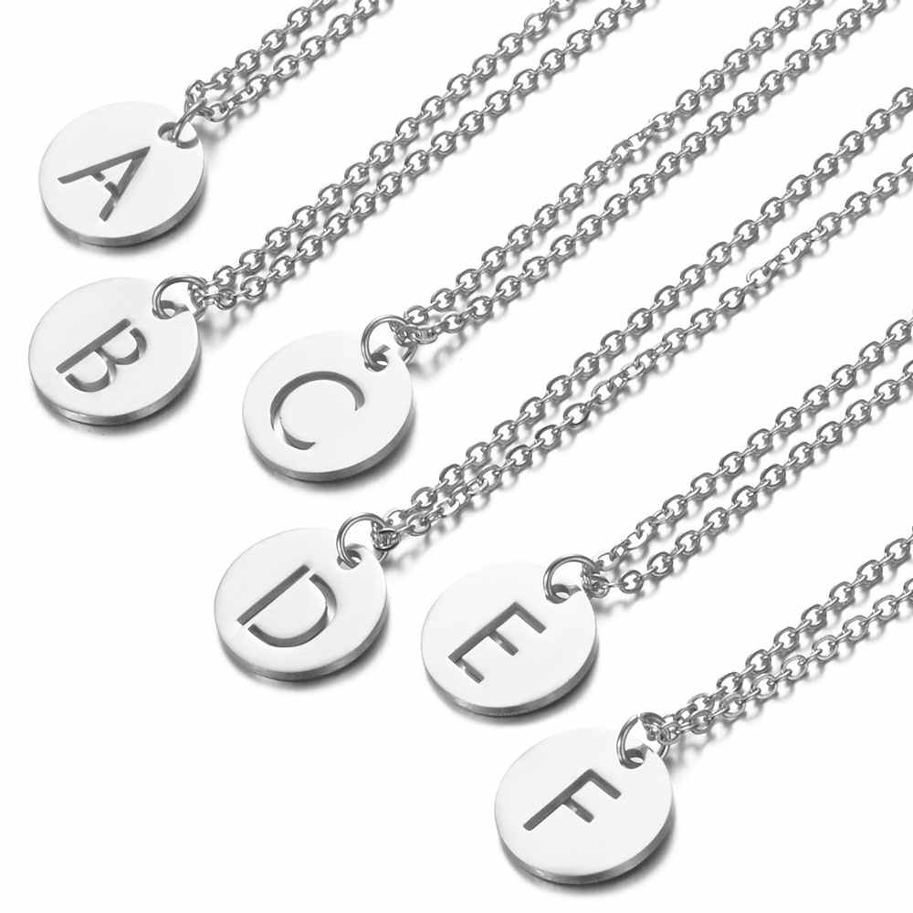 A-Z 26 Initials Name Necklace 12mm Round Pendant Letter Alphabets Necklace 316L Stainless Steel Femme Choker gift for Women